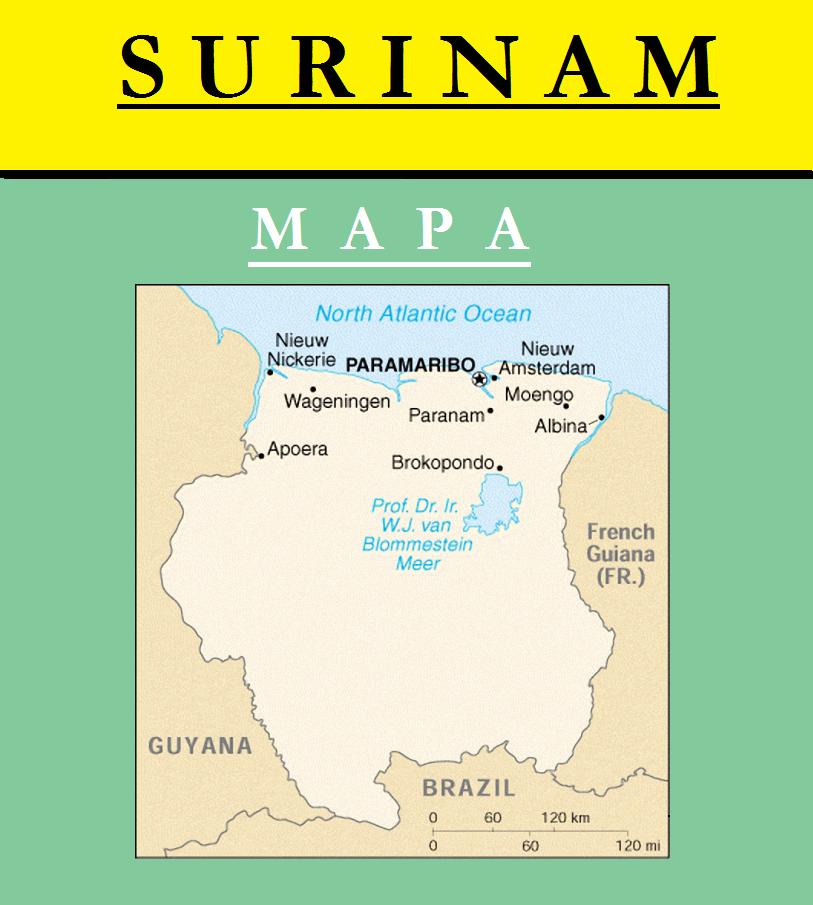 Escudo de MAPA DE SURINAM