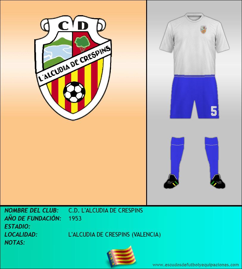 Escudo de C.D. L'ALCUDIA DE CRESPINS