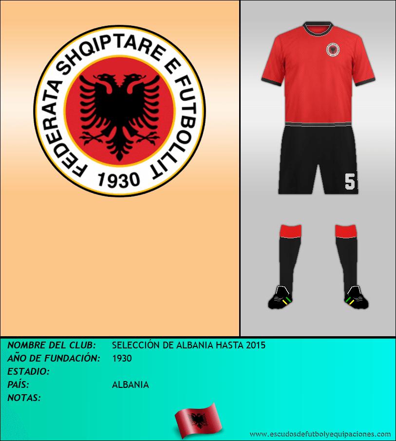 Escudo de SELECCIÓN DE ALBANIA HASTA 2015