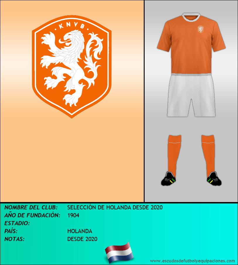 Escudo de SELECCIÓN DE HOLANDA DESDE 2020